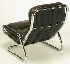 Anonymous; Chromed Tubular Steel and Leather Lounge Chair by Directional, 1960s.