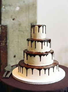 Must be one of my favourite...  Modern Wedding Cakes: Dripping Chocolate Glaze