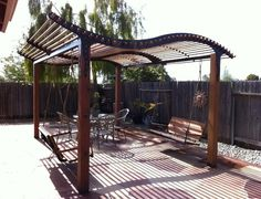 my latest Gazebo / Pergola design the Orcutt  has room for 4 bench swings or two hanging sofa beds.  Any size is available!