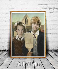 American Gothic Hermione and Ron Parody - art by MiroPrint2 on Etsy