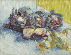 Still Life with Red Cabbages and Onions - Vincent van Gogh . Created in Paris in Autumn, Located at Van Gogh Museum Art Van, Van Gogh Art, Vincent Van Gogh, Monet, Van Gogh Museum, Painting Prints, Painting & Drawing, Art Prints, Painting Canvas