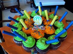 Cupcakes from Walmart with Nerf darts