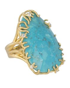 Large Branch-Bezel Ring, Turquoise  by Kendra Scott Luxe at Neiman Marcus.