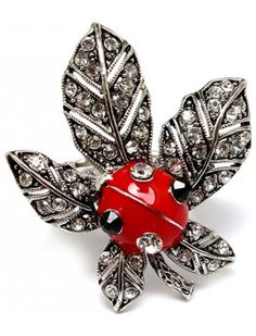 BLACK & RED LADYBIRD ON A LEAF LADIES FASHION STRETCH RING - View All Rings - Rings - Jewellery