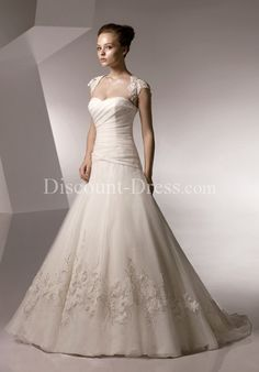 A-Line Strapless Floor Length Attached Textured Organza Beading/ Embroidery/ Lace Wedding Dress style 10055 - - US$229.99