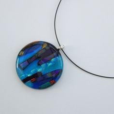Big! Bold! Beautiful handmade fused glass pendant with wire necklace, handmade by myself in my North Somerset studio from Dichroic glass in shades