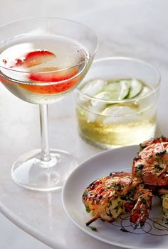 St. Germain, Gin & Plum Cocktail. Lillet and Cucumber Aperitif | Con Poulos for Martha Stewart Living