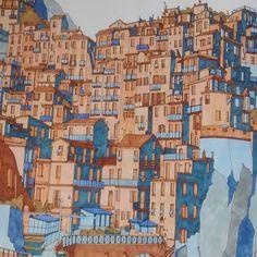 Manarola Italy Fantasticcities Stevedmcdonald Adultcolouringbook Colouringbookforadults Relaxation