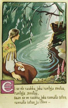 Martta Wendelin Fairytale Art, Vintage Illustrations, Vintage Cards, Martini, Finland, Illustrators, Pond, Fairy Tales, German