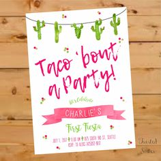 Taco Bout a Party Invitation, Taco Bout a Party Invite, fiesta invitation, Fiesta Birthday Invitation, Cactus Birthday, watercolor, Fiesta by TwistedSisterShop on Etsy
