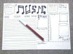 music journal printable planner stationery by LaSoffittaDiSte