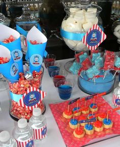Thomas the Train birthday party treats! See more party planning ideas at CatchMyParty.com!