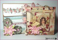 Rosen Fotoalbum - Romatisches Rosen Fotoalbum mit Box - Roses premade scrapbook with Box - Roses Mini Album - romantic  scrapbook