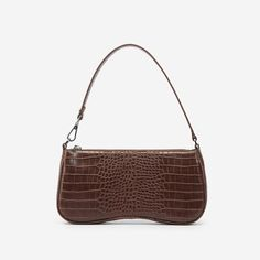 Classic Baguette Bag Type Croc-Embossed Vegan Leather Recycled Plastic Lining W × D × H x x Handle Drop Undetachable Strap (Unadjustable) Silver Hardware Zip Closure 1 Interior Pocket Fits All Sizes Of Phones Imported Ankle Strap Heels, Ankle Straps, Baguette, Vegan Handbags, Things To Buy, Stuff To Buy, Mid Calf Boots, Chanel Handbags, Vegan Leather
