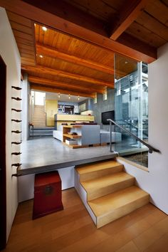 Architecture, Enchanting Space With Blonde Wooden Floor Under Family Room Bridged With Minimalist Stair: Beach House with Traditional Wooden Decor and Stylized with Modern Furniture
