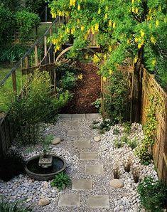 A lovely low-maintenance garden = side yard: