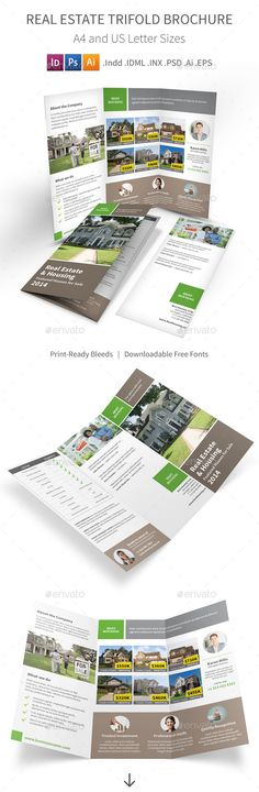 Real Estate Trifold Brochure by Mike_pantone *Save with Bundle! Real Estate Print Bundle is also available.Real Estate Trifold Brochure Clean and modern tri-fold brochure for