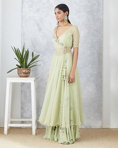 P R I N T S // SERENA Our easy breezy Sage organza angarakha jacket set is perfect for summer mehendis! --- 🌸Shop at… Designer Party Wear Dresses, Kurti Designs Party Wear, Lehenga Designs, Designer Wear, Indian Gowns Dresses, Pakistani Dresses, Indian Wedding Outfits, Indian Outfits, Wedding Dress