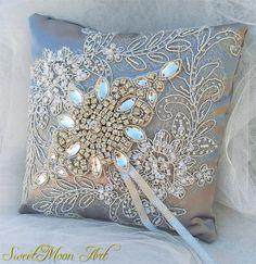 Almohada portadora anillos bodaalmohada para boda por SweetMoonArt