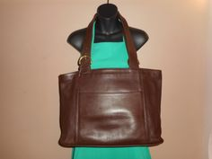 "HUGE VINTAGE Coach Brown Leather 17"" X 10"" X 5"" Tote Bag USA J6C-4155 by COACHCROSSING on Etsy"