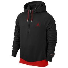Jordan Retro 11 All Night 1/2 Zip Hoodie - Men's - Basketball - Clothing - Black/Gym Red