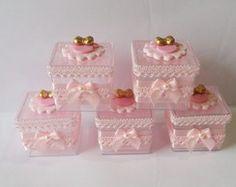 Caixinha decorada Minnie rosa e dourado