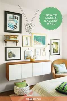 How to Create the Easiest Gallery Wall Ever   This display is easily adaptable, so you can add pieces or shift them around when you want. Here's the how-to, plus information on the art shown.