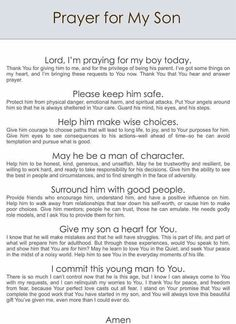 Prayer for our sons and grandson's!
