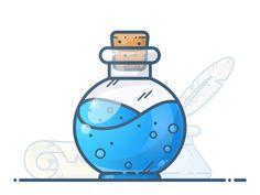 Drawing Tips Mana Potion - View on Dribbble Flat Design Illustration, Graphic Illustration, Line Design, Icon Design, Bottle Drawing, Creative Poster Design, Affinity Designer, Environment Concept Art, Motion Design