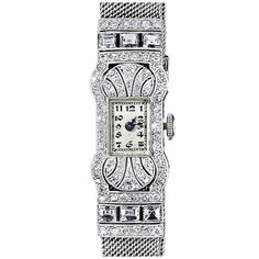 Platinum and Diamond Art Deco Mesh Band Watch by Gubelin, circa 1925