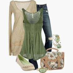 Spring outfit verano stílus divat, divat y női outfitek. Outfits 2016, Mode Outfits, Spring Outfits, Casual Outfits, Fashion Outfits, Casual Wear, Green Outfits, Green Top Outfit, Ladies Outfits