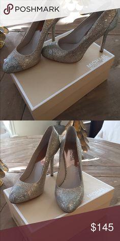 Michael Kors Glitter Pumps New never worn, original box. Sparkle gold with silver toe MICHAEL Michael Kors Shoes Heels