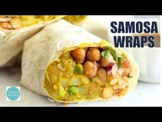 DOES NOT LIKE Samosa Wraps - Spiced Potatoes Chickpeas Chutney Burrito. Easy Spiced Potato Chickpea Burrito for lunch picnic or carry out. Indian Food Recipes, Whole Food Recipes, Cooking Recipes, Healthy Recipes, Wrap Recipes, Healthy Delicious Meals, Vegan Indian Food, Recipes For Lunch, Freezer Recipes