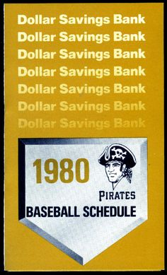 1980 PITTSBURGH PIRATES DOLLAR SAVINGS BASEBALL POCKET SCHEDULE  FREE SHIP #PocketSchedules