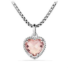 Pink Heart you...Cable Heart Pendant with Morganite