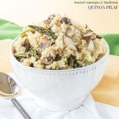Roasted Asparagus and Mushroom Quinoa Pilaf for #SundaySupper