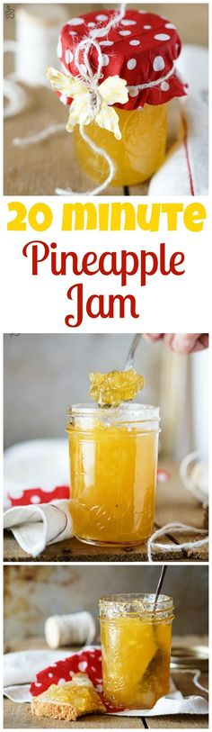 2 ingredients, 20 minutes, Pineapple Jam - great on vanilla ice cream! Pineapple Jam, Pineapple Recipes, Jelly Recipes, Dessert Recipes, Jam And Jelly, Canning Recipes, Food To Make, Brunch, Food And Drink