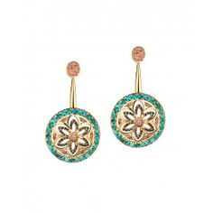 Turquoise Tourmaline Floret Earrings by Madhuri Parson | Shop now! #Luxe #Designer #Necklaces #Jewellery #Earrings Fine Gold Jewelry
