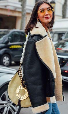Diletta Bonaiuti, Stylist. Street Style, PFW. Paris Fashion Week, Loewe Handbag, Tinted Sunglasses, Yellow Lenses, Denim. Tommy Ton