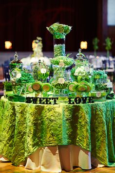 Green candy buffet; Social Butterfly Wedding Planning; photo by Bobbi+Mike