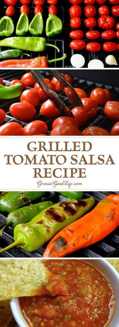 This tomato salsa recipe adds delicious depth of flavor from grilling the vegetables. The flavors transform to a delightful blend of sweet, smoky char, with a spicy kick that makes you crave for more. (Summer Recipes To Try) Mexican Food Recipes, Real Food Recipes, Cooking Recipes, Healthy Recipes, Grilled Tomatoes, Grilled Vegetables, Vegetables List, Appetizer Recipes, Dinner Recipes