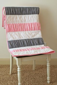Pink Gray Ruffle Quilt Blanket Toddler Baby Cot Bed Girl