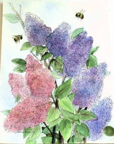 Garden Nature Art Botanical Original Painting Lilacs in Spring by Laurie Rohner via Etsy