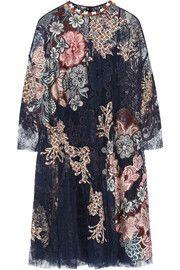 BiyanLevia embellished appliquéd lace dress
