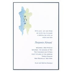 Bar Mitzvah Invitations Blue and Green