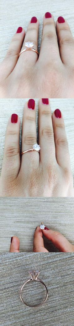 CZ Moissanite and Simulated 92868: New 14K Rose Gold Cz Cubic Zirconia Engagement Solitaire Ring 6 Prong 1.5 Carat -> BUY IT NOW ONLY: $130.0 on eBay!