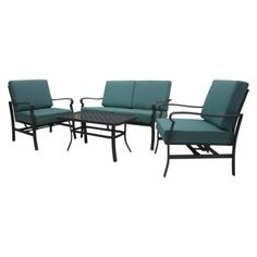 Threshold Hawthorne 4-Piece Metal Patio Conversation Furniture Set - Blue.  Another contender for our patio seating area and reasonably priced for all the pieces.