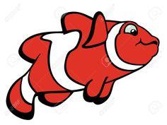 Pez payaso rojo con rayas blancas. Imagen de dibujos animados. Fondo Blanco.