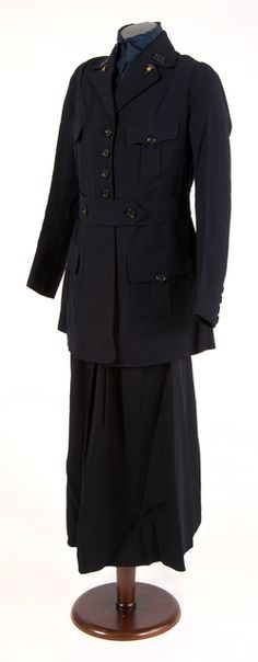U.S. Army nurse's dress uniform consisting of jacket and skirt made of dark blue wool serge and a dark blue silk blouse, 1914-19. Worn by Lillian Porter of the U.S. Army Nurse Corps, who served at Fort Snelling, Minnesota in 1919.