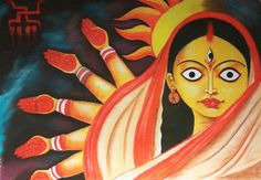 Buy Maa Durga - original artwork by Deep chatterjee - ArtOfColors offer contemporary and modern art . Find the best art you love on ArtOfColors. Durga Maa Paintings, Durga Painting, Worli Painting, Lord Shiva Painting, Oil Pastel Paintings, Indian Art Paintings, Madhubani Art, Madhubani Painting, Bengali Art